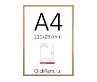 Рамка Нельсон А4, матовое золото, профиль 02