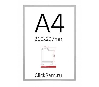 Рамка алюминиевая Нельсон А4 матовое серебро