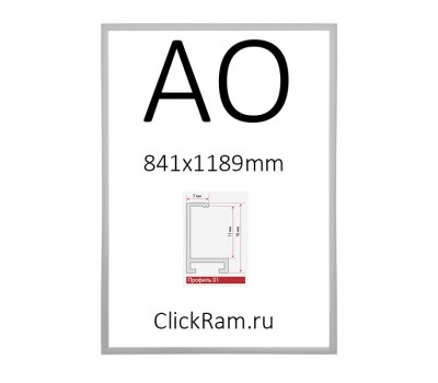 Рамка алюминиевая Нельсон А0 матовое серебро