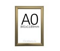 Рамка клик односторонняя А0 (25мм) матовое золото